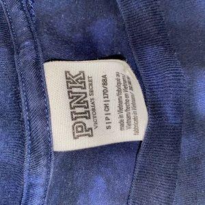 PINK Victoria's Secret Tops - VS PINK Long Sleeve Campus Tee - blue tie dye